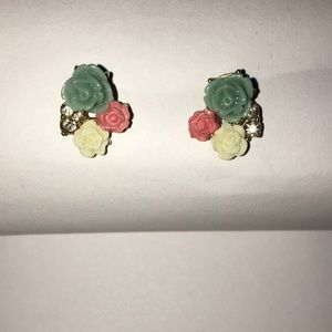 Blue and Pink Rose Earrings